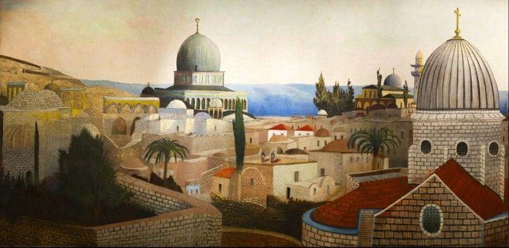 Csontváry Kosztka Tivadar - Templomtéri kilátás a Holt-tengerre Jeruzsálemben