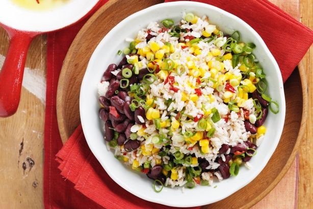 Spiced rice and bean salad