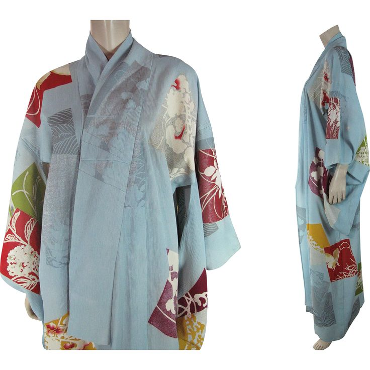 Vintage Pastel Blue Silk Crepe Three Mon Furisode Kimono at Marzilli Vintage Exclusively on Ruby Lane