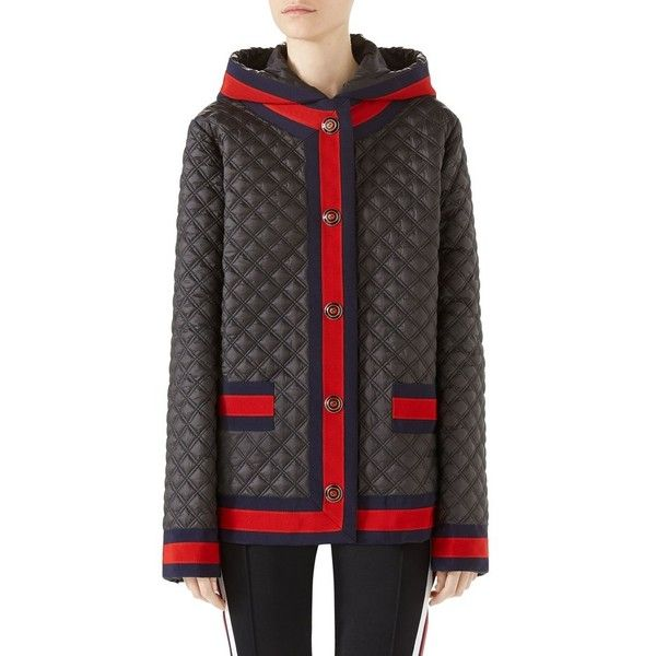 Women's Gucci Quilted Caban With Removable Hood ($2,600) ❤ liked on Polyvore featuring outerwear, coats, black, gucci coat, texture coat, puffer coat, lightweight puffer coat and lightweight coat