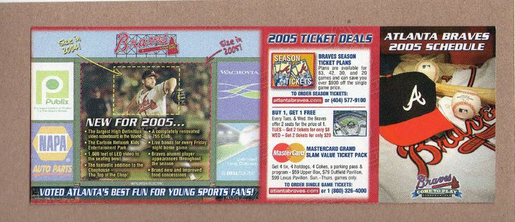 2005 MLB Baseball Atlanta Braves Pocket Game Schedule