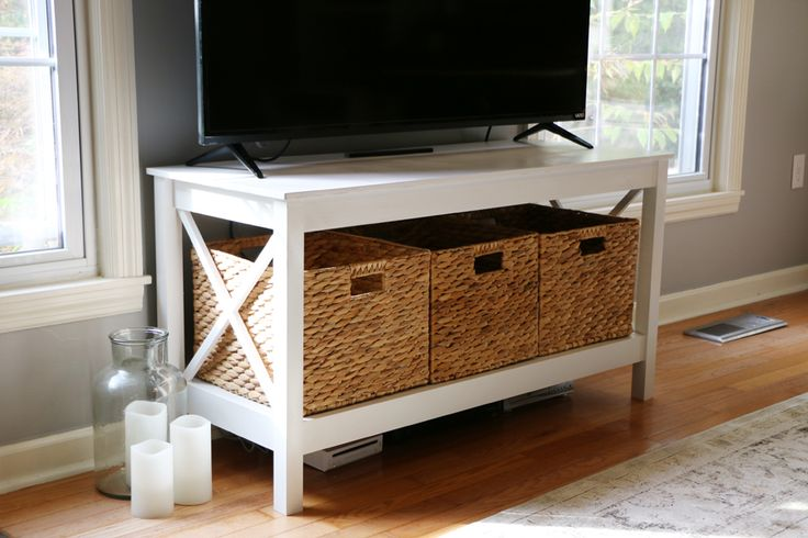 Build your own X-leg TV stand/console for a fraction of the cost to buy it. An easy build, and it looks just like one you would purchase in store or online, but is so much sturdier!