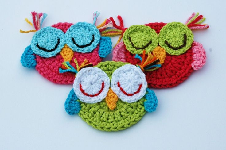 Crochet Owl Appliques - Sleepy owls Set of 3 by AnnieDesign on Etsy https://www.etsy.com/listing/113748143/crochet-owl-appliques-sleepy-owls-set-of