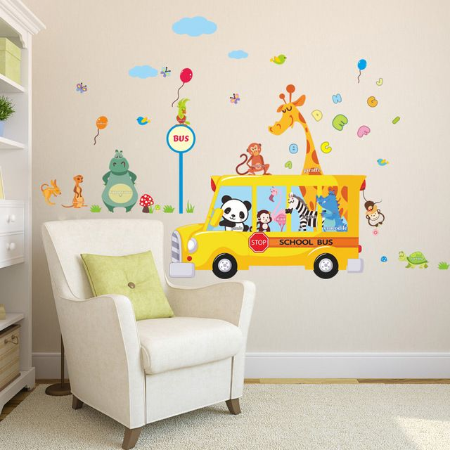 Check lastest price Cartoon Animals School Bus Wall Stickers For Kids Rooms Panda Monkey Giraffee Turtle Nursery Room Decor Art Wall Decal Poster just only $4.74 with free shipping worldwide  #wallstickers Plese click on picture to see our special price for you