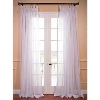 @Overstock.com - White Doublewide Poly Voile Sheer Curtain Panel - This double-wide sheer curtain panel makes a light and breezy accent for any interior decor. Crafted from 100 percent poly voile and featuring a pole-pocket design, this timeless curtain panel pairs well with a range of casual decors.  http://www.overstock.com/Home-Garden/White-Doublewide-Poly-Voile-Sheer-Curtain-Panel/8273761/product.html?CID=214117 $35.99