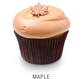 Maple cupcake with a maple-infused cream cheese frosting topped with a fondant maple leaf (no recipe, just picture)