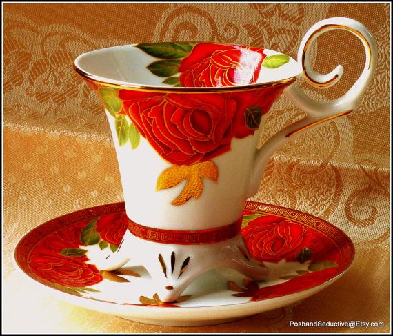 """Exquisite footed cup and saucer duo by Decor du Galion Limoges """"So French"""" with rich gilded red roses pattern to take your breath away"""