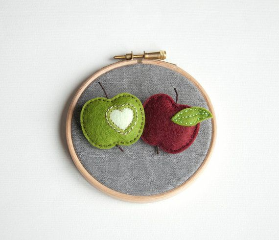 Apples in love green and red apple brooch set of 2 by suyika