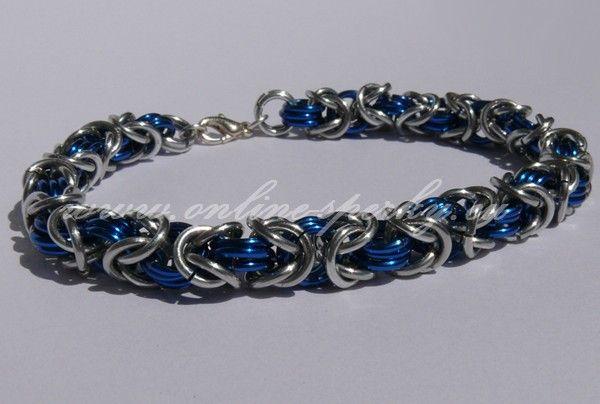 Modro stříbrný byzantský náramek 89 Kč