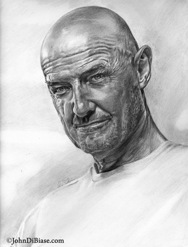 Terry O'Quinn as John Locke {of Lost tv series} pencil portrait by John DiBiase