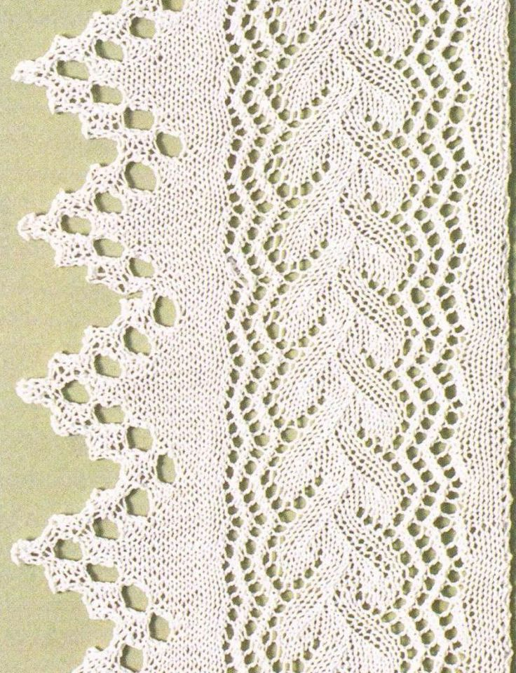 Knitted Lace Edging Patterns : 89 best images about Knitting - Borders, Edges on Pinterest Cable, Knitting...