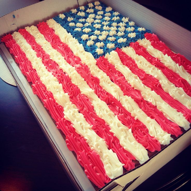 Sheet Cake Birthday American Flag