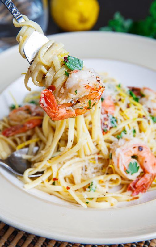 Italian Shrimp Scampi:  Italian Shrimp Scampi Recipe ingredients  8 ounces linguine (or other pasta) 1 tablespoon olive oil 2 tablespoons butter 1 pound jumbo shrimp (16-24), shelled and deveined 4 cloves garlic, chopped 1 pinch red pepper flakes (optional) 1/4 cup white wine 1/4 cup lemon juice (~1 lemon) salt and pepper to taste 1 teaspoon lemon zest 1 tablespoon parsley, chopped
