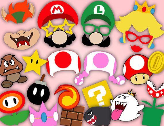 Instant Download Super Mario Photo Booth Props Super Mario
