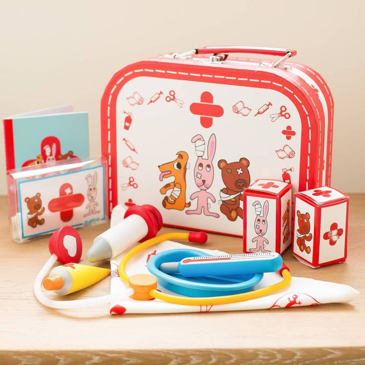 Personalised Wooden Doctors Set  This wooden doctors set includes a stethoscope, wooden tube of ointment, wooden spatula, thermometer, drip pan, wooden syringe, 2 rolls of bandage, a patient booklet and 2 notebooks. There are plasters included that a decorated with cute illustrations and stitched together with elastic so are easy to slip onto the paw of your favourite teddy.