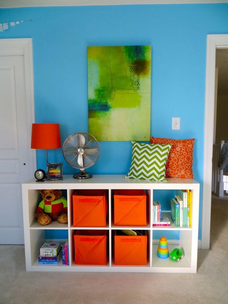 chevron blue orange baby boy nursery