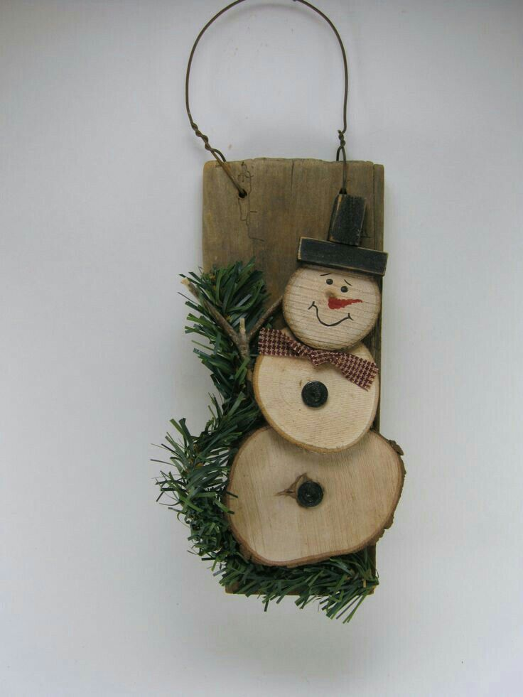 Wood art snowmen,