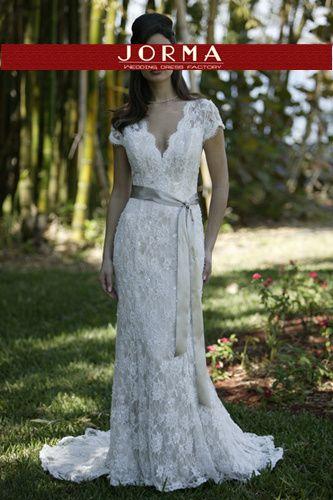 White V-Neck Wedding Dresses WD2393 design by Jorma Wedding Dresses & Bridal Gowns