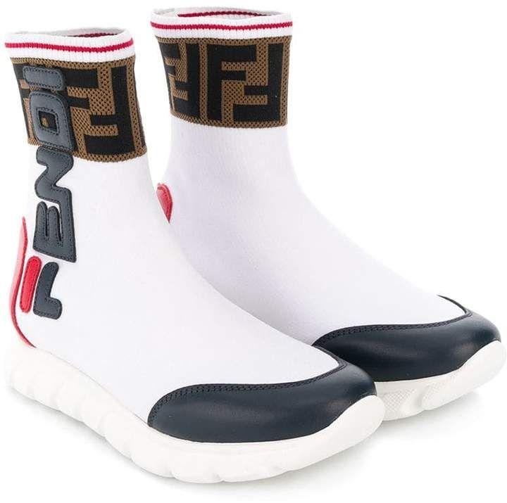 Fendi Kids Fendi Mania colour-block Logo Sneaker Boots