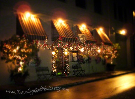 Travel photography Irenes in the French Quarter restaurant Italian New Orleans night lights Christmas red green gold fine art photo