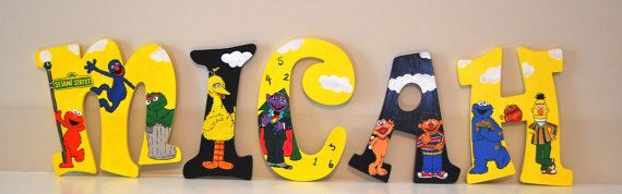 Sesame Street Hand Painted Wooden Letters by LaceysCraftyLetters, $15.00