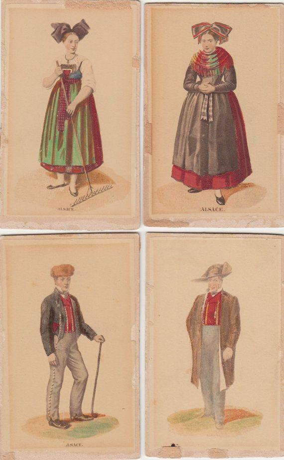 Four CDVs Alsace France Folk Costume Hand by LangdonsListPhotos, $16.00