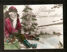 k2 Latvia Merry Christmas Happy New Year Greetings Old tinted Photo postcard Santa Claus Presents Gnome Child Boy Sledge | For sale on Delcampe