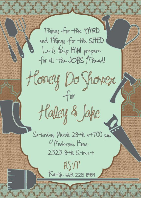 couples honey do shower invitation digital by
