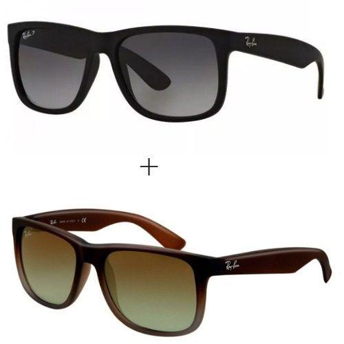 e1338d47c Veja estes `0culos:Kit 2 Oculos Ray Ban Justin Rb4165 Polarizado Masculino