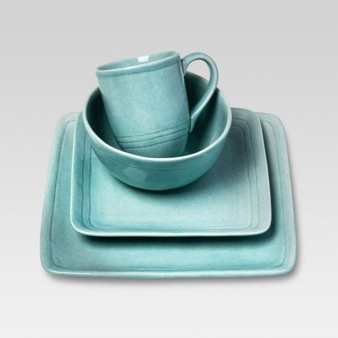 The Cooper Dinnerware Set 16-Piece Stoneware in Teal from Threshold gives you a complete set of dishes with a casual look. The 4 mugs, 4 bowls, 4 salad plates and 4 dinner plates have a shiny glaze with a serene teal tone. It's a great choice for brunches and outdoor entertaining.