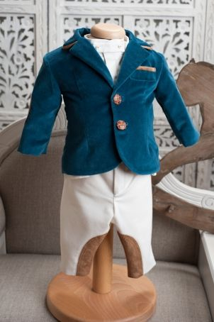 """Velvet christening suit for baby boys, inspired from the equitation outfits: """"Berlioz""""."""