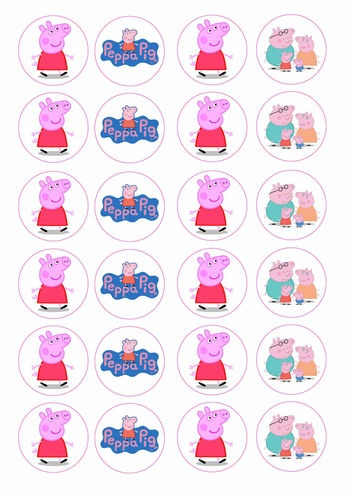 24 assorted Peppa Pig 4cm round cupcake edible images