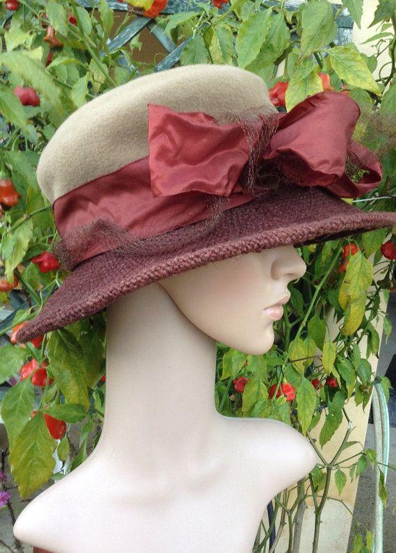 VERKOOP NWT 1990s jurk hoed, velours, taffeta, linnen, grote boog, bruin / beige / verbrande oranje, gemaakt in Polen, layaway beschikbaar, Griekenland