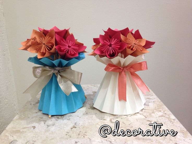 Vasinhos decorativos de origami