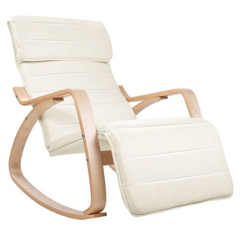 Cheap Birch Plywood Footrest Adjustable Rocking Lounge Arm Chair Fabric Cushion Beige