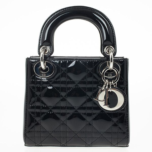 Christian Dior Black Patent Mini Lady Dior Bag ❤ liked on Polyvore featuring bags, handbags, borse, purses, hand bags, mini purse, christian dior purses, patent leather purse and mini hand bags