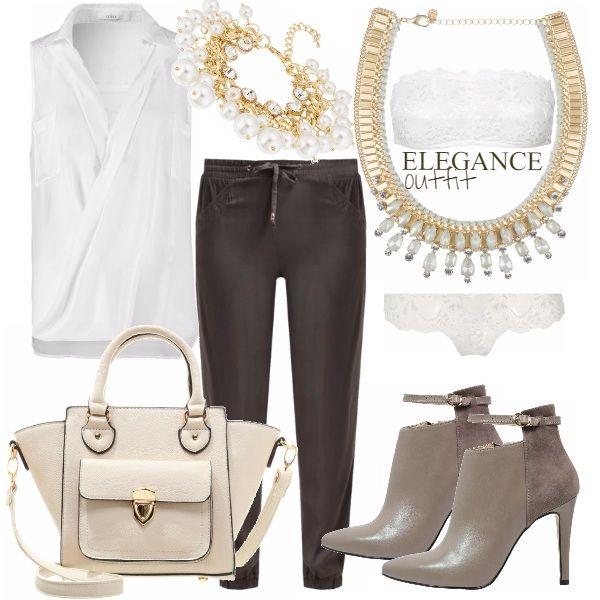 Un outfit da giorno davvero elegante composto da camicetta trasparente bianca e pantaloni color khaky. La borsa a mano è una meraviglia color crema e i tronchetti color beige sono arricchiti dal cinturino e dal doppio tessuto. Collana e bracciale oro e perle vistosi e di classe. .. e per essere sempre perfette anche al di sotto dei nostri outfit, completino bianco sexy in pizzo con reggiseno a fascia...