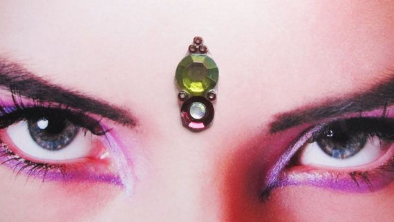 Handmade moss green purple/red forest bindi with white rhinestone and purple beads for sale here https://www.etsy.com/listing/126677472/forest-bindi-tribal-fusion-buikdans?ref=v1_other_2  tribal fusion bellydance - face decoration - hindu woman - india - accessory - jewelry - third eye