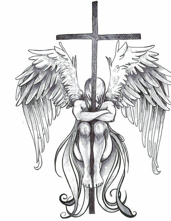 Cool Fairy Drawings | Winged Cross Tattoos For Men I'd actually say this is an angel not a fairy