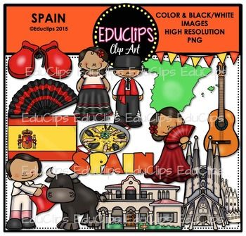 This is a collection of Spain clip art images. Images include castanets, fan, map, bunting (Spanish flag colors), flag, paella, guitar, matador, bull, Spanish villa, Sagrada Familia, flamenco girl, Spanish boy, Spanish girl and word art.