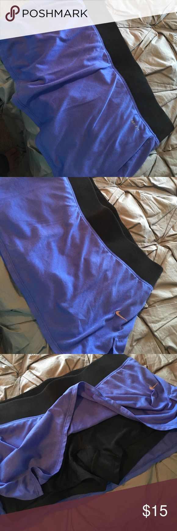 Blue Nike skirt! Cute, blue Nike skirt with shorts attached. Super comfortable and in great condition. They work great to workout in, tennis, golf, etc. love them!! Nike Other