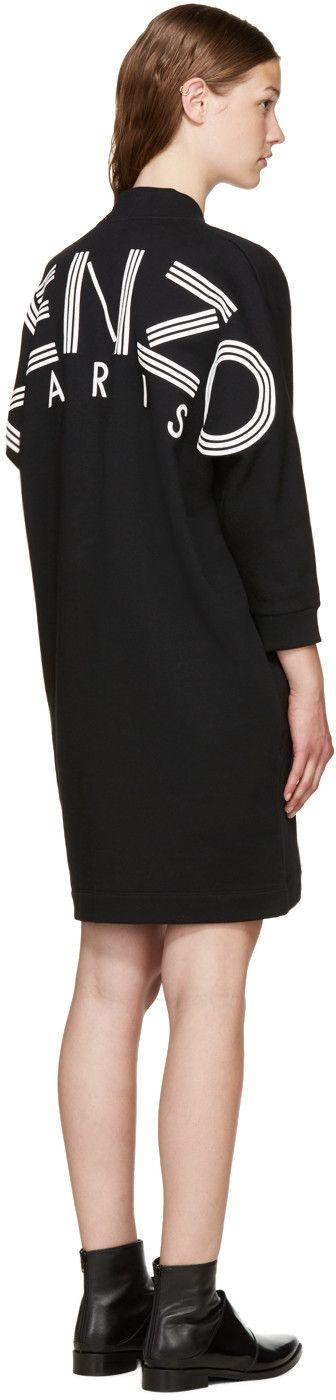 Kenzo - ブラック ニット ロゴ ドレス