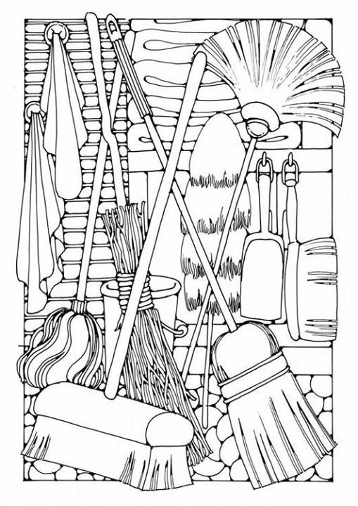 Coloring Page Domestic Items