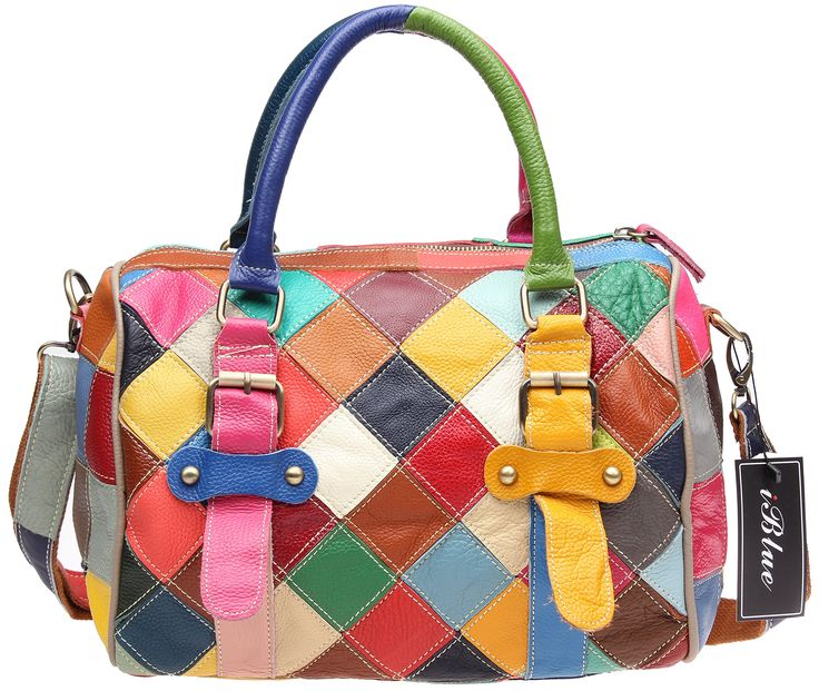 """Iblue Leather Multicolor Women Handbag Contrast Checkered Tote Bag 12.5in #216. Top cow leather, high quality bronze hardware. Size approximately(without handle) :12.5""""L x 6.7"""" W x 8.6""""H inches,the height of handle: 5.5 inch. Convenient & Comfortable to wear in 3 ways: tote, shoulder bag and crossbody messenger. The interior is simple, but versatile enough to carry a phone, tablet, wallet, glass case, makeup etc. Looks great, works great, and match with all manner of clothing styles."""
