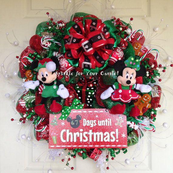 Guirnalda de Navidad, cuenta atrás para la guirnalda de la Navidad, guirnalda de Navidad de Disney cuenta regresiva, corona de Mickey Mouse,