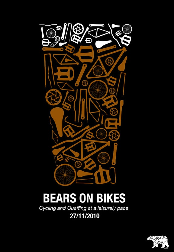 Bears on bikes poster design.