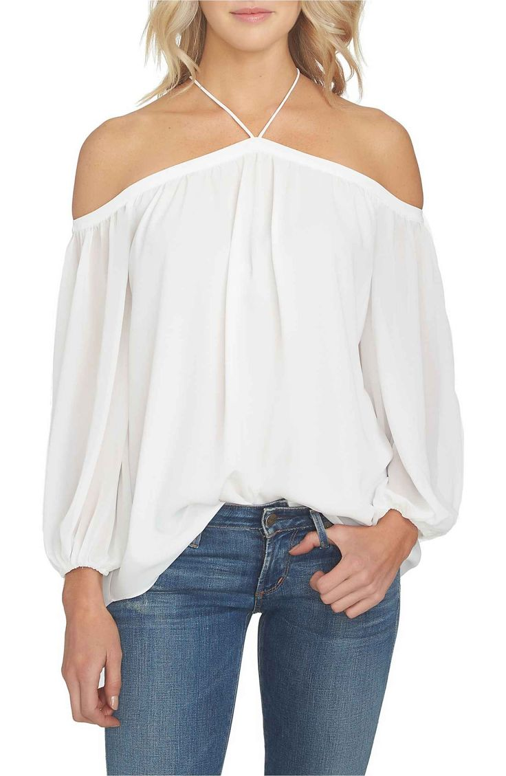 Off the Shoulder Sheer Chiffon Blouse perfect for Summer