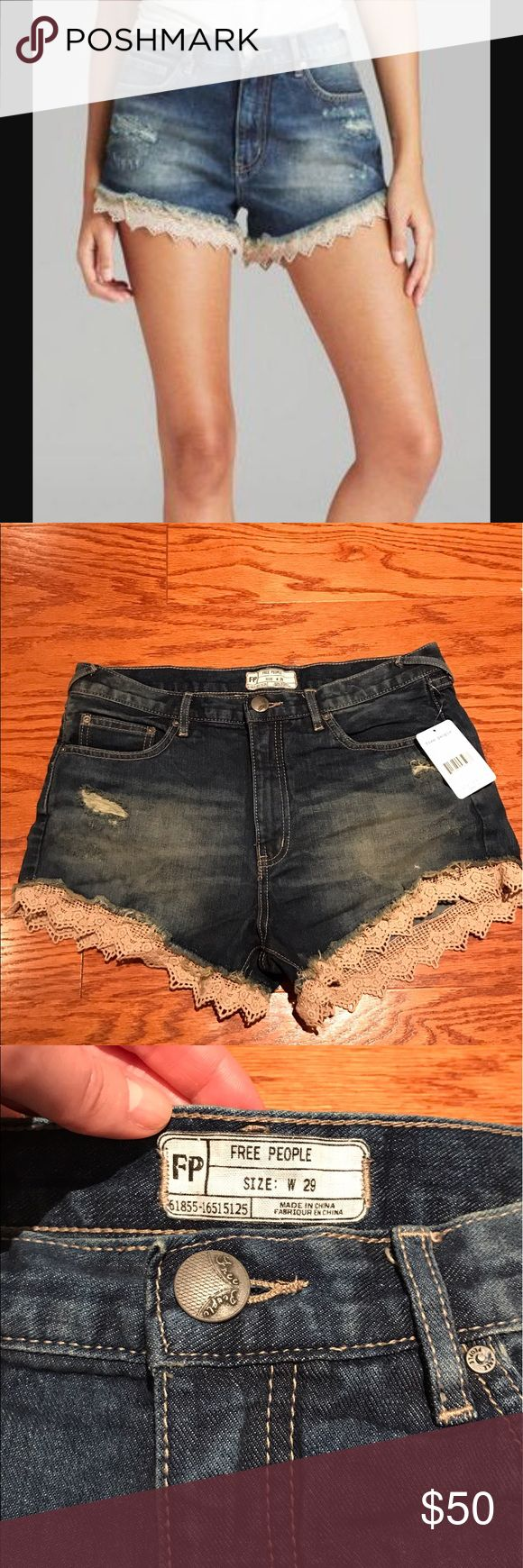 """NWT Free People Lacey cut off denim shorts NWT Free People Lacey cut off denim shorts- aero wash. Size 29. Distressed 5-pocket denim shorts with scalloped crochet trimming around bottom hems. Zipper and button fly. Some destructed texture in places for a cool, worn-in feel and look. Bottom hems above the trimming are frayed. 100% cotton - Frayed hem with beige crochet lace trim - Approx. 11"""" rise, 4"""" inseam Free People Shorts Jean Shorts"""