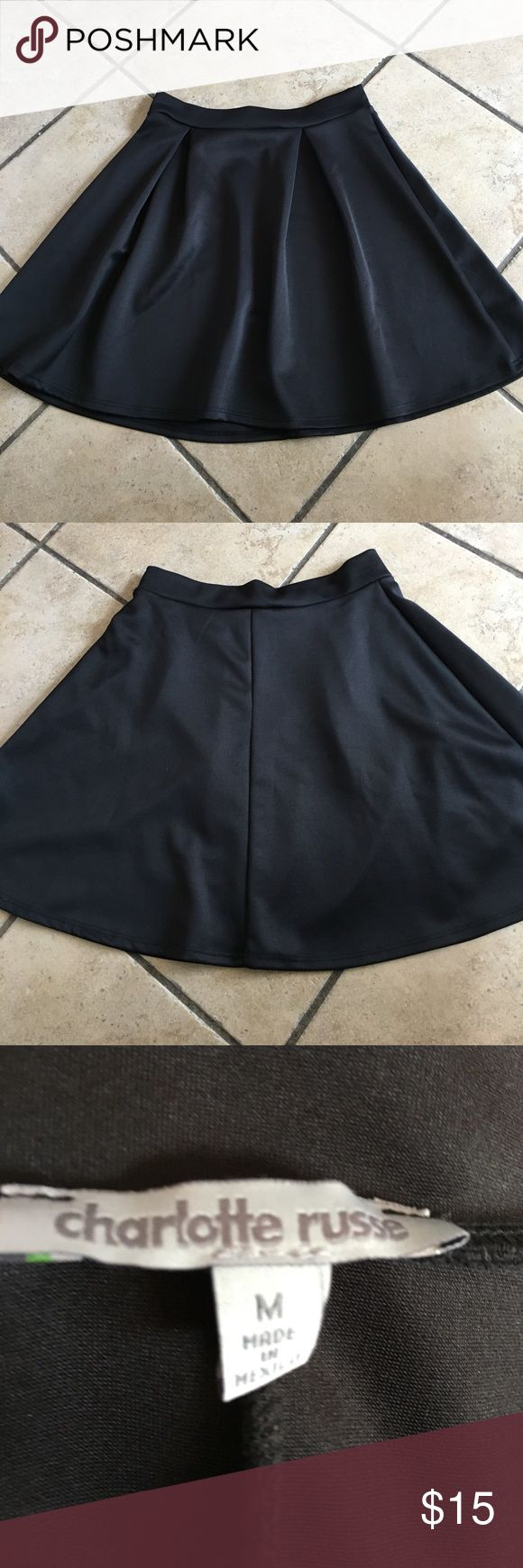 Black skater skirt Pleated black circle skater skirt. Only worn twice! Great for dressing up and going out! Charlotte Russe Skirts Circle & Skater