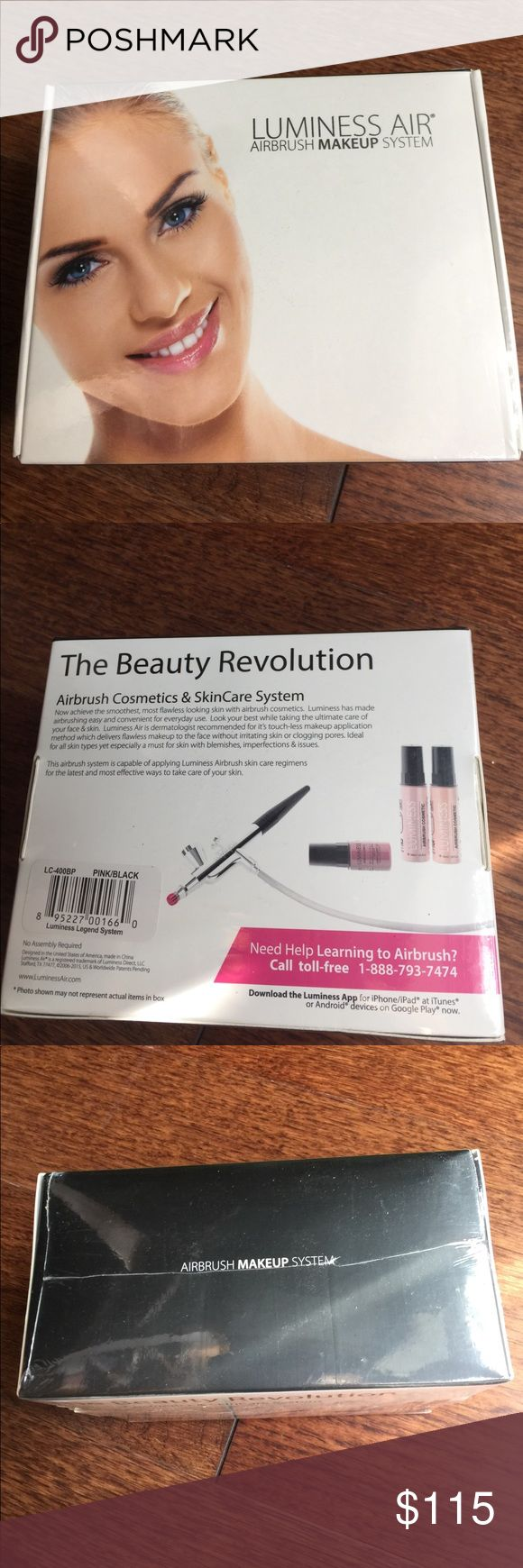 NWT Lumpiness airbrush makeup system Luminess airbrush cosmetic and skincare system.  NEW & STILL PLASTIC WRAPPED. No assembly required. Comes with Airbrush with the pink no drip tip for easier using & no dripping. luminess airbrushing system Makeup